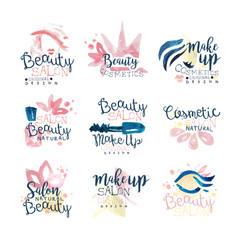 Beauty natural salon logo design set of colorful vector
