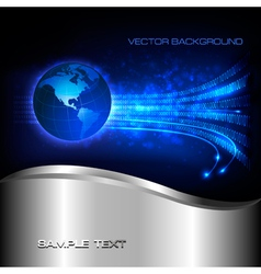 Binary code flowing behind the globe vector