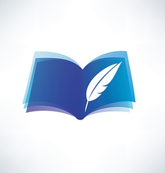 book and feather isolated symbol vector image vector image