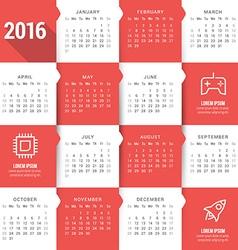 Calendar template calendar 2016 week starts sunday vector