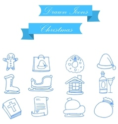 Christmas object icons of art vector