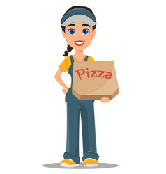 Courier woman holding box with tasty hot pizza vector