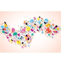 Cute characters fun party abstract art background vector