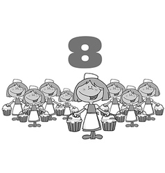 Eight maids milking cartoon vector image vector image