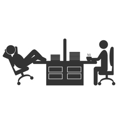 Flat office icon with workers on coffee break vector image