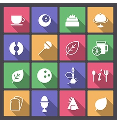food and entertainment icons in flat design vector image vector image