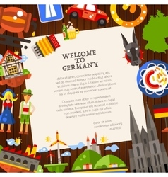 Germany travel postcard template with famous vector