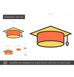 Graduation cap line icon vector