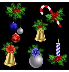 Green Christmas garlands of holly vector image vector image