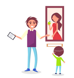 Guided excursion in picture gallery for school kid vector