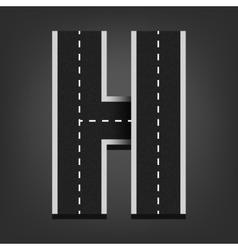 H letter road font vector