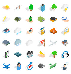 Hanger for plane icons set isometric style vector