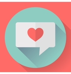 Heart in speech bubble icon Flat vector image vector image