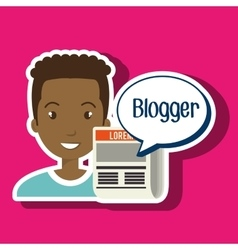 man cartoon blogger web vector image