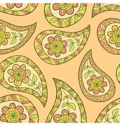 Orange summer paisley ethnic pattern vector image