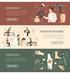 Orthopedics and traumatology horizontal banners vector