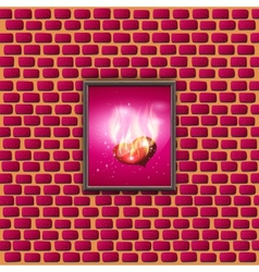 paintings with glowing hearts on a brick wall vector image