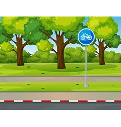 Park scene with bike lane on the road vector