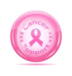 pink ribbon glossy icon vector image