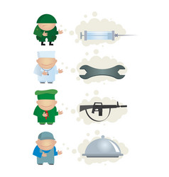profession and tools vector image vector image