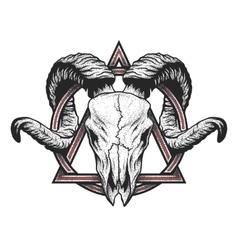 Ram skull with a geometric symbol vector