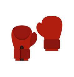 Red boxing gloves icon flat style vector