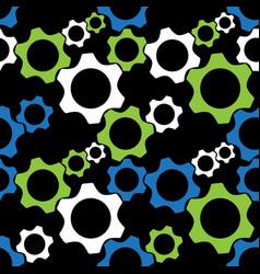 seamless pattern - blue green white cogwheels vector image vector image