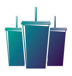 Set of plastic soda cup with straw fresh drink vector