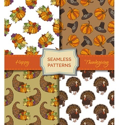 Set of seamless thanksgiving patterns vector