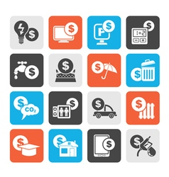 Silhouette payment of bills icons vector image vector image