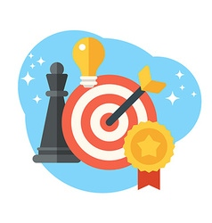 Strategy concept chess target and arrow creative vector