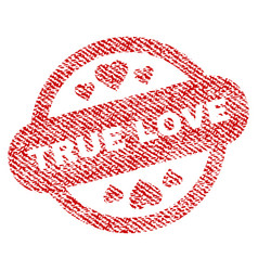 True love stamp seal fabric textured icon vector