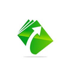 upload arrow document data logo vector image vector image