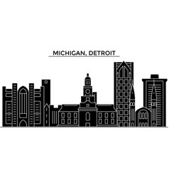 Usa michigan detroit architecture city vector