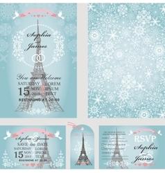 Wedding invitationseifel towersnowflakesparis vector