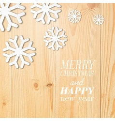 Wood board with white snow and stars vector image