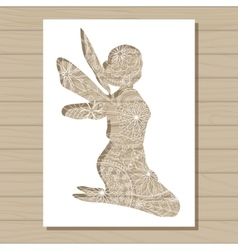 Stencil template of fairy on wooden background vector