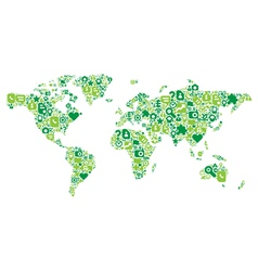 Green concept of world map vector