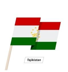 Tajikistan ribbon waving flag isolated on white vector