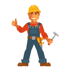 Builder or house constructor man profession vector