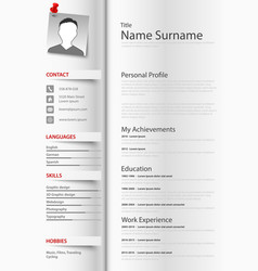 Professional resume cv as a book with tabs vector
