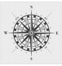 Compass rose over grid vector