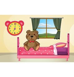 Bear on bed vector
