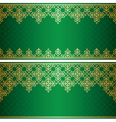 Green card with gold vintage ornament vector