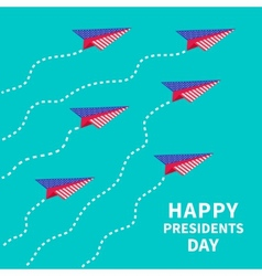 Six paper planes dash line presidents day vector