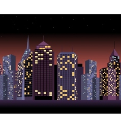 Seamless urban landscape with skyscrapers in night vector