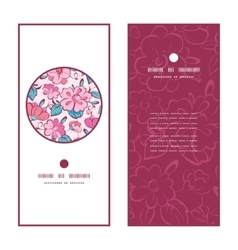 Pink blue kimono flowers vertical round vector