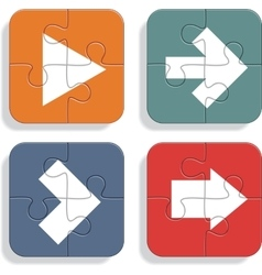 Set of different puzzle arrows icons vector
