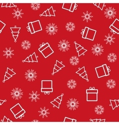 Christmas and new year seamless red pattern vector