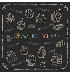 Dessert menu on chalk board vector